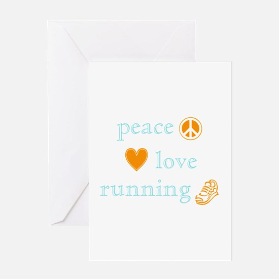 Peace, Love and Running Greeting Card