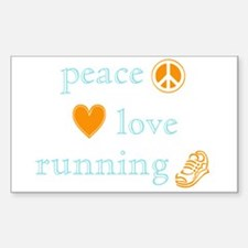 Peace, Love and Running Sticker (Rectangle)