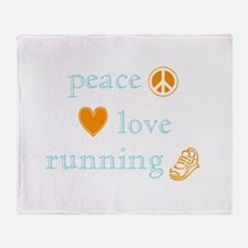 Peace, Love and Running Throw Blanket