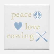 Peace, Love and Rowing Tile Coaster
