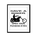 Save A Biker Framed Panel Print