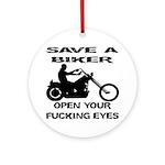 Save A Biker Ornament (Round)