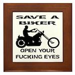 Save A Biker Framed Tile