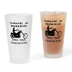 Save A Biker Drinking Glass