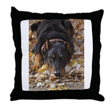 Beauceron Leaves Throw Pillow
