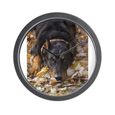 Beauceron Leaves Wall Clock