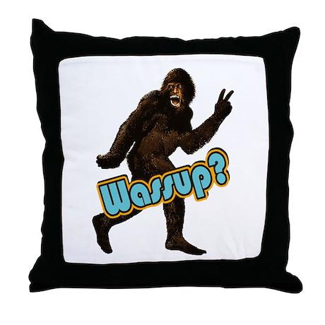 Bigfoot Yeti Sasquatch Wassup Throw Pillow