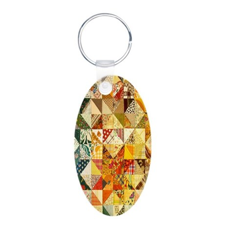 Fun Patchwork Quilt Aluminum Oval Keychain