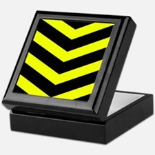 Black/Yellow Chevron Keepsake Box
