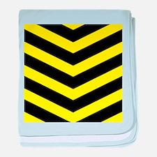 Black/Yellow Chevron baby blanket