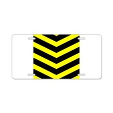 Black/Yellow Chevron Aluminum License Plate