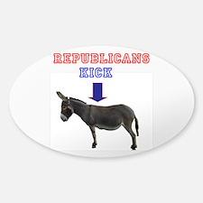 Cute Republicans kick ass Sticker (Oval)