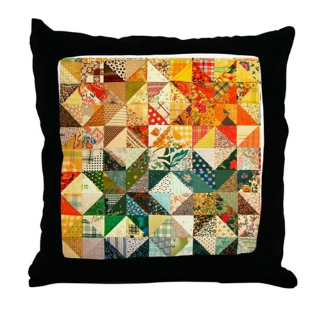 Fun Patchwork Quilt Throw Pillow