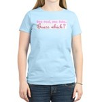 One fake. one real (pink) Women's Pink T-Shirt