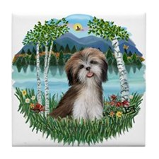 Birches - Shih Tzu #2 Tile Coaster