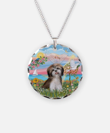 Angel Star / Shih Tzu Necklace Circle Charm