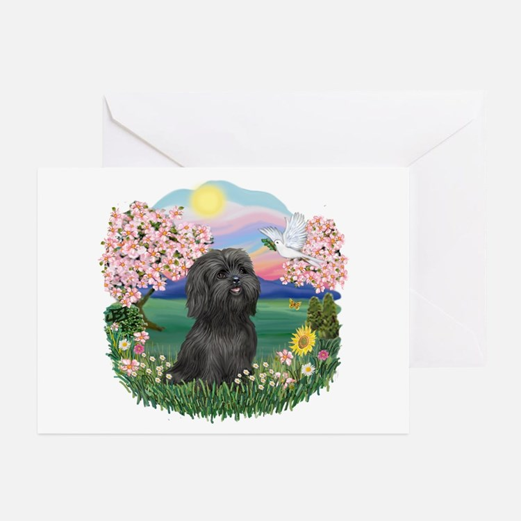 Blossoms-ShihTzu#21 Greeting Cards (Pk of 10)