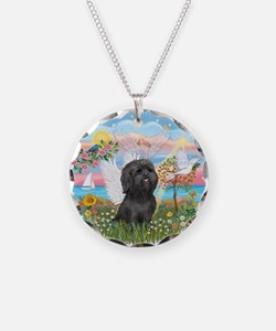 AngelStar/Shih Tzu (blk) Necklace Circle Charm