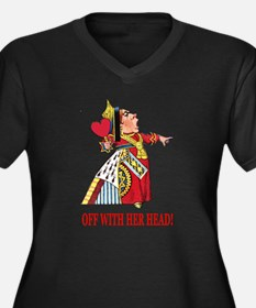The Queen of Hearts Women's Plus Size V-Neck Dark