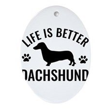 Daschund Design Ornament (Oval)