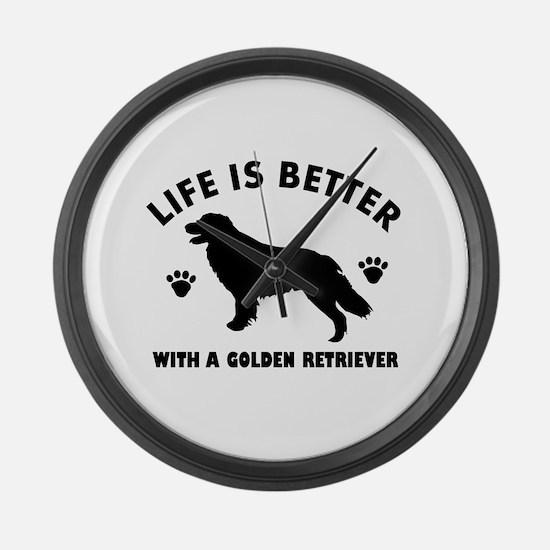 Golden retriever breed Design Large Wall Clock