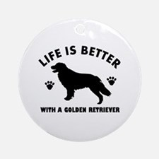 Golden retriever breed Design Ornament (Round)