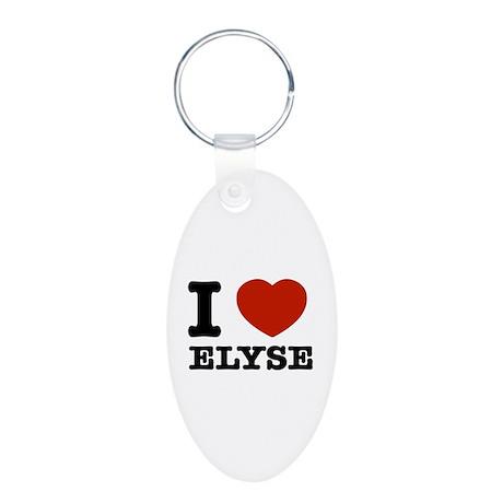 I love Elyse Aluminum Oval Keychain