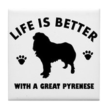 Great Pyrenese breed Design Tile Coaster
