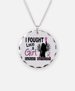 Licensed Fought Like a Girl Necklace Circle Charm