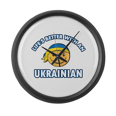 Cute Ukrainian designs Large Wall Clock