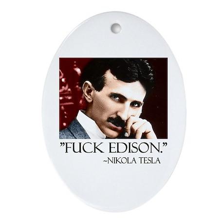 Nikola Tesla Ornament (Oval)