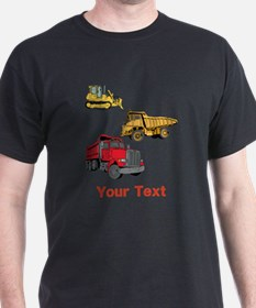 Works Site Vehicles and Text T-Shirt