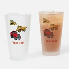 Works Site Vehicles and Text Drinking Glass