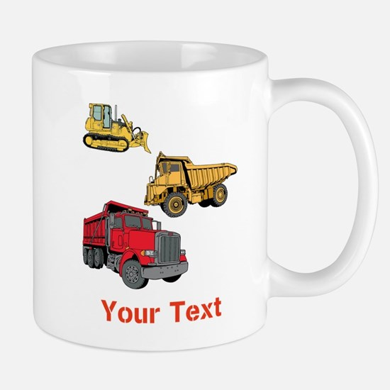 Works Site Vehicles and Text Mug