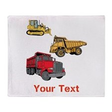 Works Site Vehicles and Text Throw Blanket