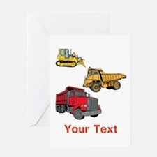 Works Site Vehicles and Text Greeting Card