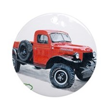 Antique Power Wagon Ornament (Round)