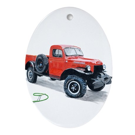 Antique Power Wagon Ornament (Oval)