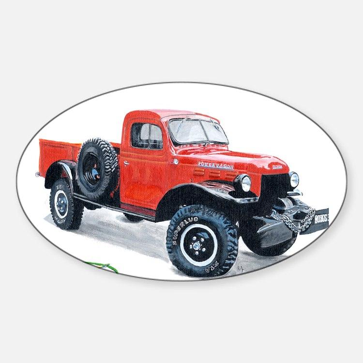 Antique Power Wagon Sticker (Oval)