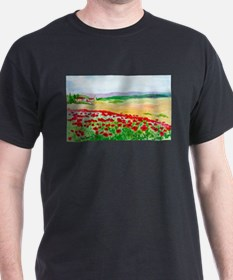 Poppies of Italy Black T-Shirt