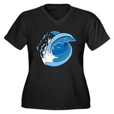 Dolphins Women's Plus Size V-Neck Dark T-Shirt