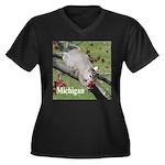 Squirrel Women's Plus Size V-Neck Dark T-Shirt