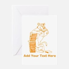 Cat Reading a Book. Text. Greeting Card