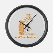 Cat Reading a Book. Text. Large Wall Clock