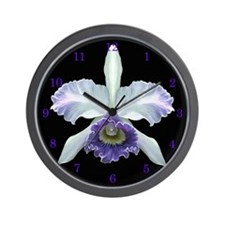 Blue Cat Orchid Wall Clock