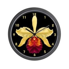 Yellow Cat Orchid Wall Clock