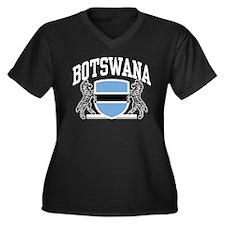 Botswana Women's Plus Size V-Neck Dark T-Shirt