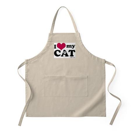 I Love My Cat BBQ Apron