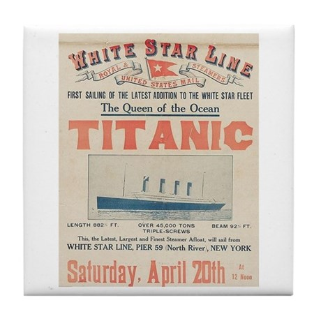 Titanic Advertising Card Tile Coaster