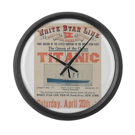 Titanic Advertising Card Large Wall Clock